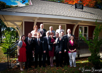 A group photo of the grooms party with their partners and Mikes parents.