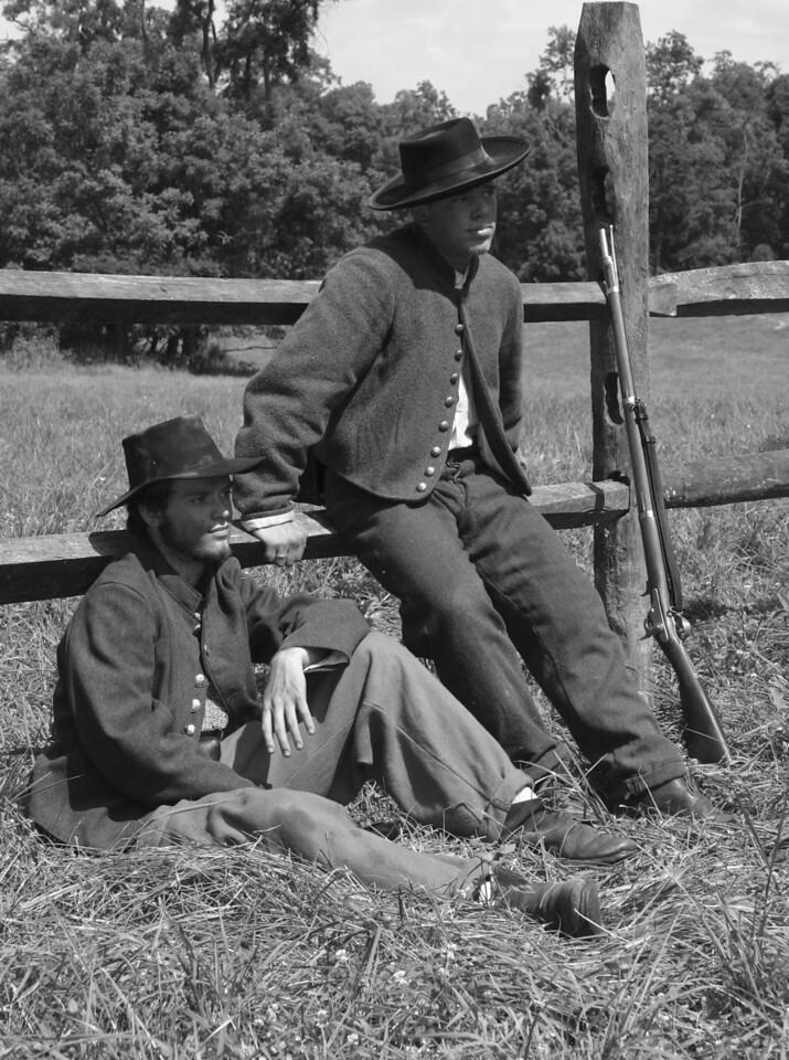 2 Civil War Reenactors, on the set of the movie Wicked Spring, 2002