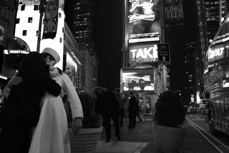 Reenactment of Alfred Eisenstaedt's famous V-J Day photograph. I just came across these two while I was walking through Times Square back in 2010.