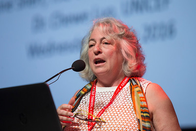 21st International AIDS Conference (AIDS 2016), Durban, South Africa. What is our goal? (WEPL0101) Professor Lorraine Sherr speaks ahead of the Award Presentation: Prize for Excellence in Research Related to Children Affected by HIV, 20 July, 2016. Photo©International AIDS Society/Rogan Ward