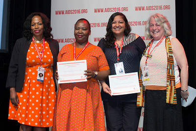 21st International AIDS Conference (AIDS 2016), Durban, South Africa. What is our goal? (WEPL01) Award Presentation: Prize for Excellence in Research Related to Children Affected by HIV, Dr. Chewe Luo, Makhahliso Jubilee, Theresa Betancourt and Professor Lorraine Sherr, 20 July, 2016. Photo©International AIDS Society/Rogan Ward