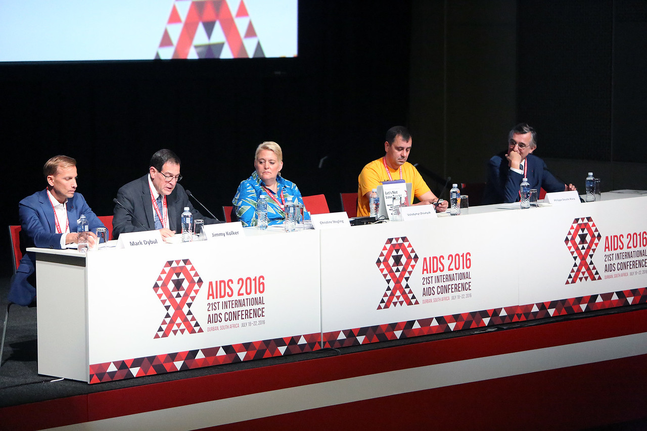 21st International AIDS Conference (AIDS 2016), Durban, South Africa. Opportunities for and Challenges to Sustainable Financing of the AIDS Response Symposia Session Wednesday 20 July : Venue -Session Room 11 The Panel : Mark Dybul, Jimmy Kolker, Christine Stegling, Volodymyr Zhovtyak Photo©International AIDS Society/Abhi Indrarajan