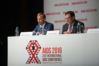 21st International AIDS Conference (AIDS 2016), Durban, South Africa. Opportunities for and Challenges to Sustainable Financing of the AIDS Response Symposia Session Wednesday 20 July : Venue -Session Room 11 CO-CHAIRS: Mark Dybul, The Global Fund to Fight AIDS, Tuberculosis and Malaria, Switzerland  Jimmy Kolker, U.S. Department of Health and Human Services (HHS), United States  Photo©International AIDS Society/Abhi Indrarajan