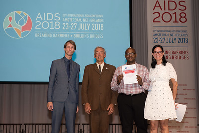 22nd International AIDS Conference (AIDS 2018) Amsterdam, Netherlands   Copyright: Marcus Rose/IAS  Photo shows: Lange/Van Tongeren Prizes (IAS/ANRS) for Young Investigators. Shaheed Abdulhaqq