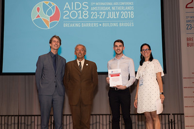22nd International AIDS Conference (AIDS 2018) Amsterdam, Netherlands   Copyright: Marcus Rose/IAS  Photo shows: Lange/Van Tongeren Prizes (IAS/ANRS) for Young Investigators. Michael Traeger.