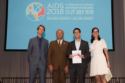 22nd International AIDS Conference (AIDS 2018) Amsterdam, Netherlands   Copyright: Marcus Rose/IAS  Photo shows: Lange/Van Tongeren Prizes (IAS/ANRS) for Young Investigators. Johnsthan Cheng.