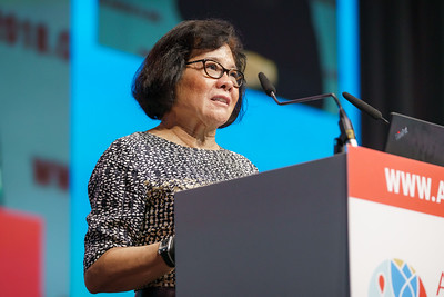 22nd International AIDS Conference (AIDS 2018) Amsterdam, Netherlands.   Copyright: Matthijs Immink/IAS Building bridges from scientific innovation to implementation Photo shows: Sandra Granger