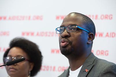 22nd International AIDS Conference (AIDS 2018) Amsterdam, Netherlands   Copyright: Marcus Rose/IAS  Photo shows: Press Conference: Sub-Saharan Africa: New Insights, New Impact. Allan Achesa Maleche Executive Director KELIN- Kenya
