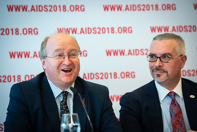 22nd International AIDS Conference (AIDS 2018) Amsterdam, Netherlands.   Copyright: Steve Forrest/Workers' Photos/ IAS  Photo shows: The Criminalization of HIV JIAS Press Conference. From Left to Right: Peter Godfrey-Faussett, Senior Adviser, Science, UNAIDS, (United Kingdom); José Zuniga, International Association of Providers of AIDS Care.