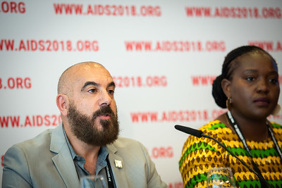 22nd International AIDS Conference (AIDS 2018) Amsterdam, Netherlands.   Copyright: Steve Forrest/Workers' Photos/ IAS  Photo shows: The Criminalization of HIV JIAS Press Conference. From Left to Right: Edwin Bernard HIV Justice Network; Sarai-Chisala Tempelhoff, Women Lawyers Association, Malawi.