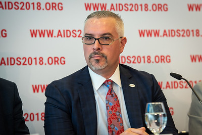 22nd International AIDS Conference (AIDS 2018) Amsterdam, Netherlands.   Copyright: Steve Forrest/Workers' Photos/ IAS  Photo shows: The Criminalization of HIV JIAS Press Conference. José Zuniga, International Association of Providers of AIDS Care.