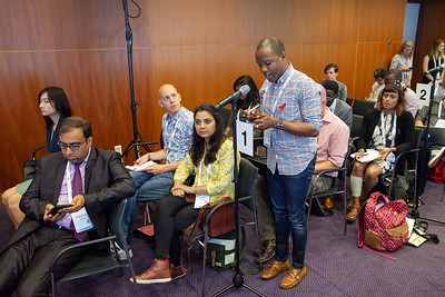 The Netherlands, Amsterdam, 25-7-2018.  Press conference: The future of HIV funding: the public, questions. John Kashiha, activist from Zimbabwe. Photo: Rob Huibers for IAS.  (Please publish always with complete attribution).