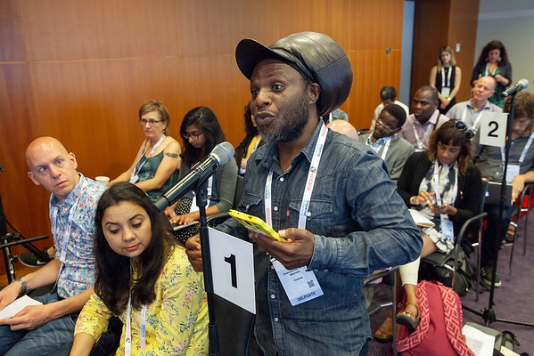 The Netherlands, Amsterdam, 25-7-2018.  Press conference: The future of HIV funding: the public, questions. Chamunorwa Mashoko, acticidst from Zimbabwe, Advocacy Core Team. Photo: Rob Huibers for IAS.  (Please publish always with complete attribution).