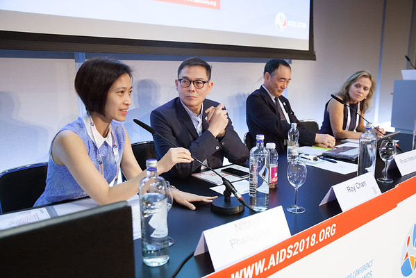 The Netherlands, Amsterdam, 25-7-2018.  Meeting of the Asia-Pacific regional department of IAS. The board L-R Nittaya Panuphak, Roy Chan, Shuzo Matsushita, Sharon Lewis. Photo: Rob Huibers for IAS.  (Please publish always with complete attribution).