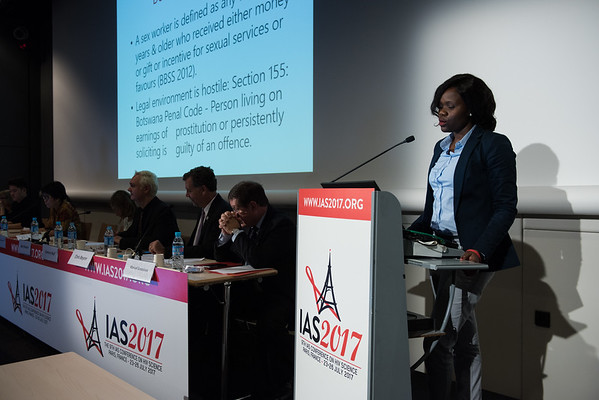 9th IAS Conference on HIV Science (IAS 2017) Paris, France. Copyright: Marcus Rose/IAS  Photo shows:  #DoingTheRightThing: Addressing Stigma and Discrimination among Key Populations in Healthcare Settings (WESY07). Providing stigma free HIV services to sex workers in Botswana: a healthcare worker perspective. Neo Nametso Monnapula, Nkaikela Youth Group, Botswana