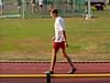 Frank aan het voorbereiden voor zijn 100m.