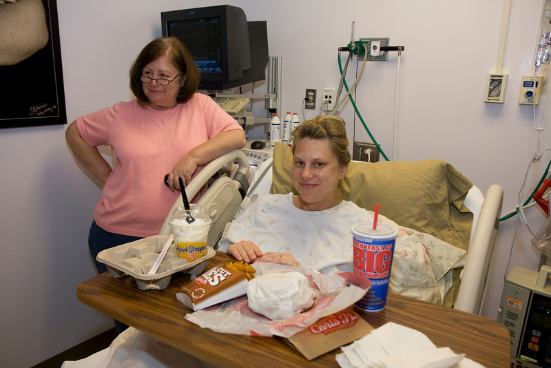 On Wednesday night, the doctor suspended the pitocin so that Iz could eat. She opted for Carl's Jr.