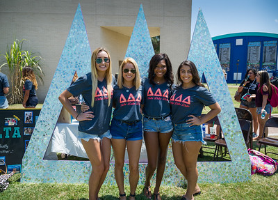 Delta Delta Delta sisters, Emily McDonald, Sarah Pena, Taylor Cope and Jaycie Martinez greet incoming students at the Greek Life Meet and Greet event.
