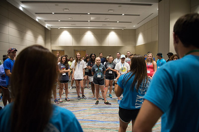 Students during Aloha Days are introduced to some of the TAMU-CC chants and cheers.