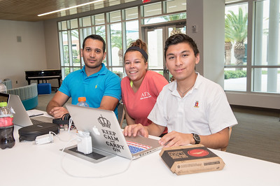 Justin Guerra(left) Phyllisha Lana and Ernest Reed Garza take a break between classes in the Tejas Lounge area.
