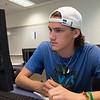 Matthew Nicholson works diligently on classwork assignment in Developmental Mathematics.