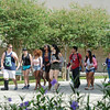 Students make their way across Lee Plaza in between classes.