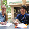 Kelly Rojas(left) and Adriel Bruce(right), study along side each other for their Genetics Homework.