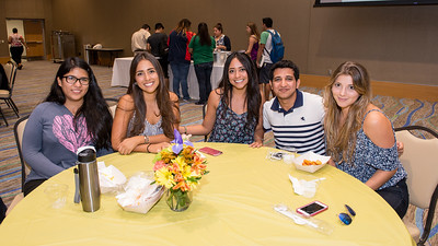 Nohelia Jimenez(left) Myrka Lozada, Arianna Lozada, Fahad Alghamdi and Cynthia Rivera at the Hispanic Heritage Month kick off celebration.
