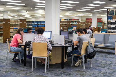 Students utilize the new computer spaces available in the Mary and Jeff Bell Library.