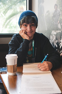 Chee Wilson studies for phycology  class in the Starbucks cafe on campus.