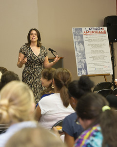 Dr. Kelly Bezio holds a discussion on Latino American as apart of Hispanic Heritage Month 's Film Screenings event.