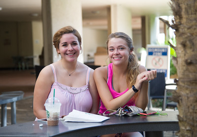 Angelica Rodriguez and Abby Post hang out between class.