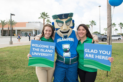 Emily Brunkenhoefer(left) and Kassandra Vela welcome guests as they arrive for State of the University.