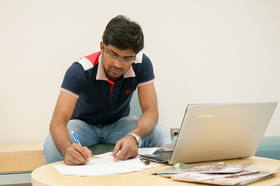 Fawwad Hussain works on his advanced computer architecture  studies in Island Hall.