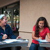 Kaehla Garrett(left) and Gabby Muenster enjoying each other's company while studying for Pre-calculus.