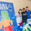 Alex Punetes(left)  KeAnna Whisenhunt and Scott Kelley promoting the Go Blue Give Green campaign in the breezeway.