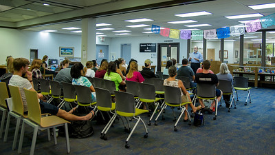 Dr. Javier Villareal reads Hispanic poetry to students during the Hispanic Heritage Month events taking place in the Mary and Jeff Bell Library. More photos here: http://bit.ly/1RtI1eT