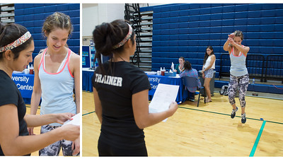 Personal trainer Claudia Zavala, accesses Valerie May's broad jump for a fitness check.