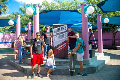 The student-driven event Humans Vs. Zombies held their registration in the Hector P. Garcia Plaza. More Info: https://hvzsource.com/tamucc/
