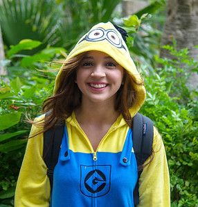 Selina Velasquez taking a moment to smile as a Minion.
