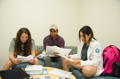 Nursing students Julia Brock(left), James Aceves and Carmen Grajeda review the materials while they wait for the HA Check-Off test.