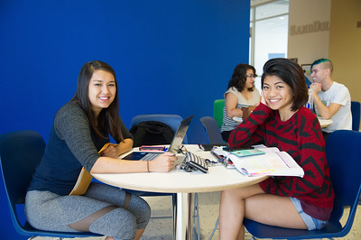 Nursing students Rachel Lopez(left) and Jenny Phung study for their pharmacology review