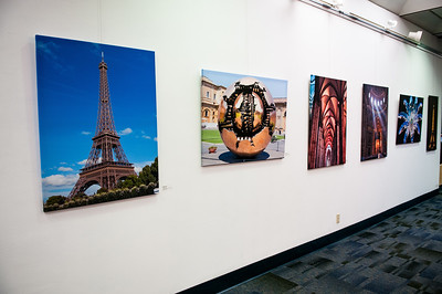 Europe Through My Eyes art exhibit in the Mary and Jeff Bell Library.