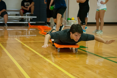 Austin Richardson experimenting new games in his Individual/Dual/Lifetime Sport course.