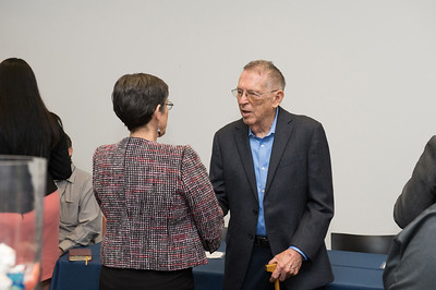 Dr. Leon Dube is greeted by Dr. Margaret Lucero at the retirement celebration in honor of Dr. Dube's service to TAMU-CC. MORE PHOTOS: http://bit.ly/1GX9HrS