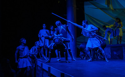 Student Schuyler Ballew fights off skeletons as Jason in Argonautika.