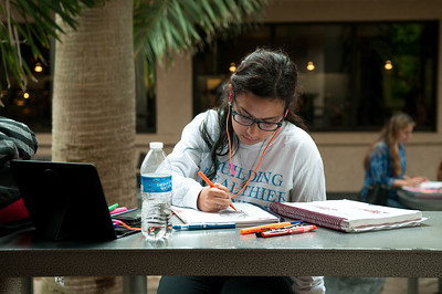 Sabrina Gonzales works on her homework in her clinical experience course.