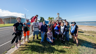 The Department of Arts Sculpture I Class presented a boat parade to demonstrate their high impact practice project on the University Beach.