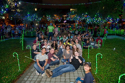 TAMU-CC's Lee Plaza is filled with people taking part in the Islander Lights Celebration.