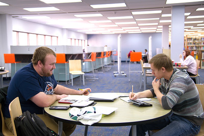 Joshua Kammer and Derrick Allport teaming up to tackle their Clinical Chemistry assignment.